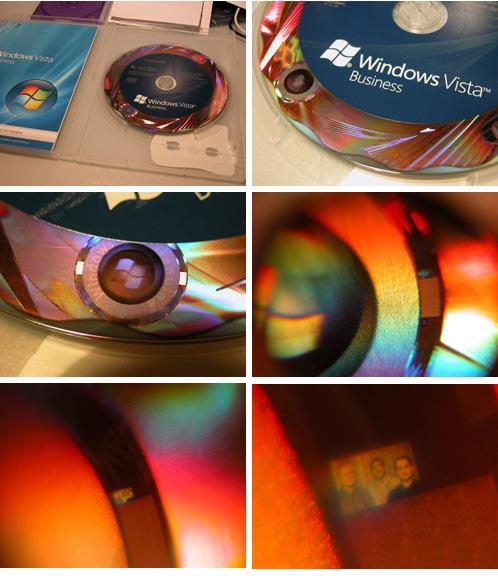 [Três caras no holograma do DVD do Windows Vista]