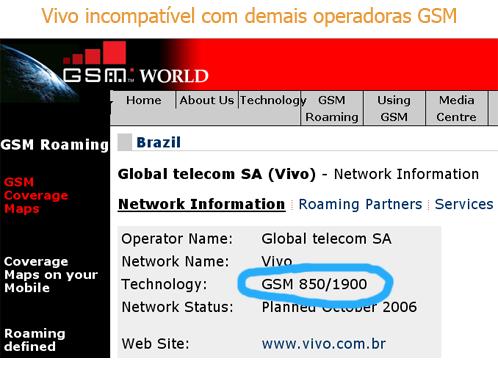 [Vivo incompatível com demais operadoras GSM]