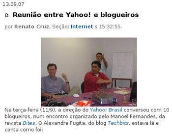 Matéria sobre encontro do Yahoo! e blogueiros